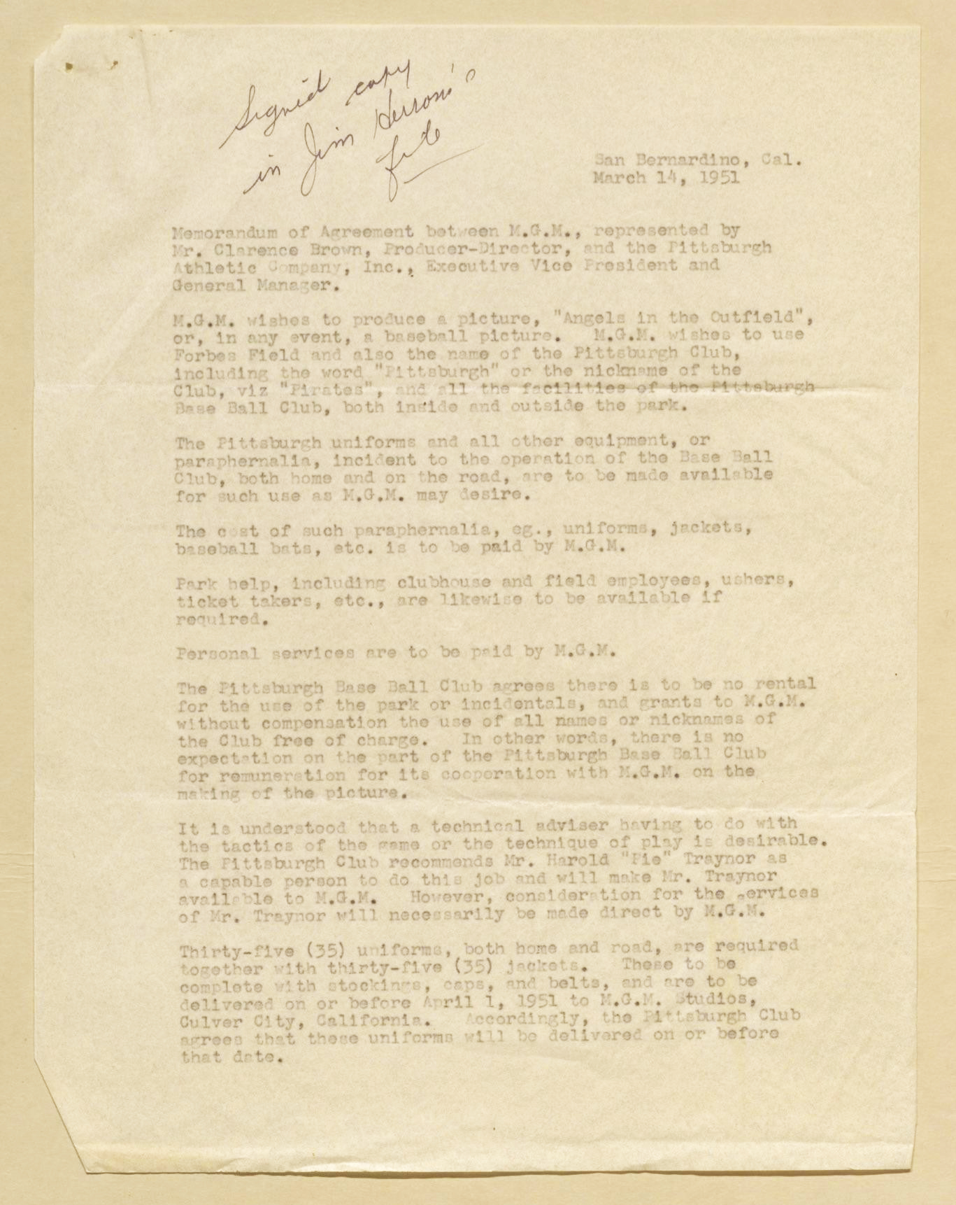 Academic interns constellationspitt a memorandum of agreement between mgm and the pittsburgh pirates found in the branch rickey papers at the library of congress manuscript division thecheapjerseys Gallery